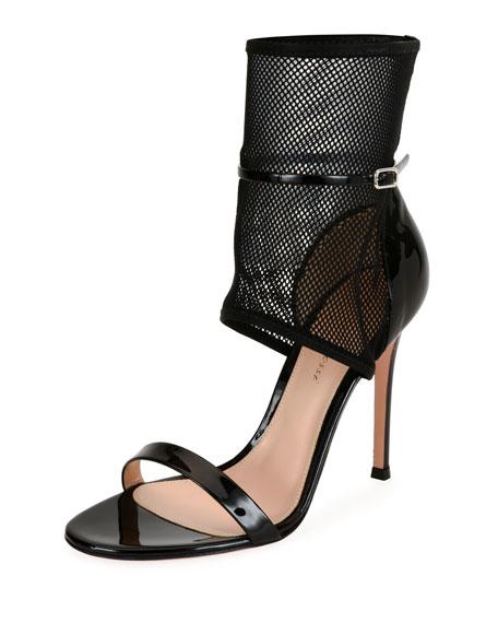 GIANVITO ROSSI Jordan Patent & Mesh 105Mm Sandal, Black