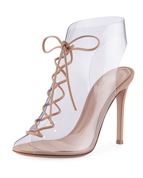 Gianvito Rossi Helmut Plexi Lace-Up 105mm Bootie