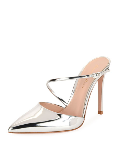 Gianvito Rossi Metallic Leather 85mm Mule, Silver
