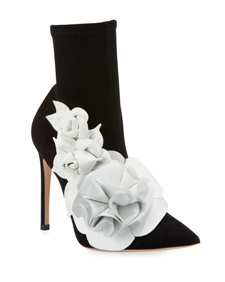 Jumbo Lilico Floral-Appliquéd Leather And Suede Ankle Boots in Black