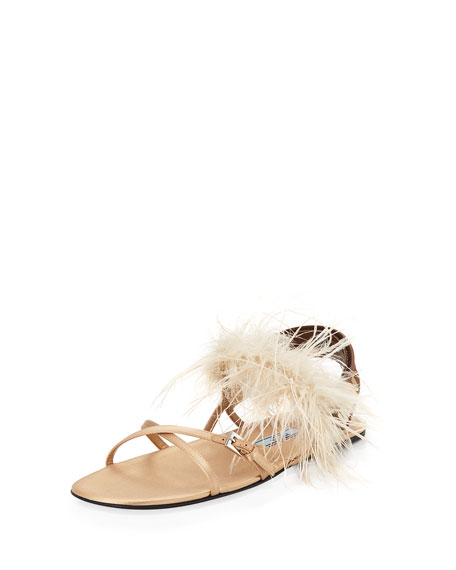 Prada Forma Flat Feather-Trim Sandal