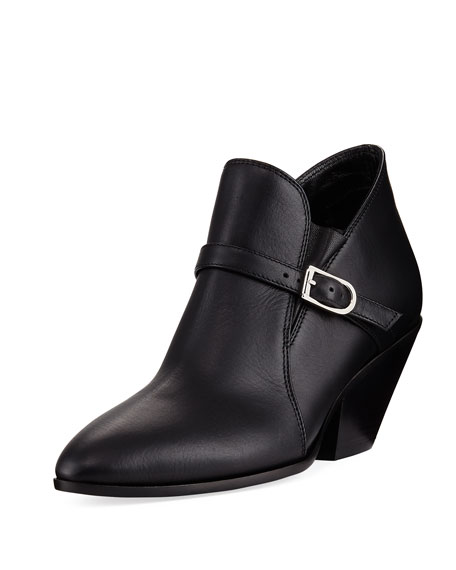 Giuseppe Zanotti Calf Leather Ankle Bootie with Buckle