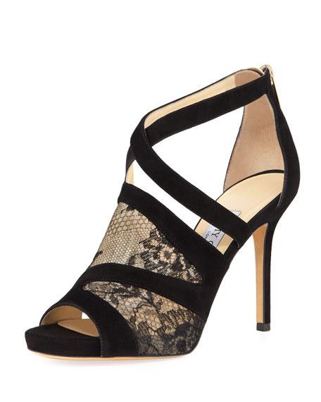 Jimmy Choo Virion Lace-Inset Glove Sandal