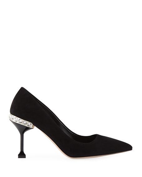 Suede Jeweled-Heel Pumps, Black