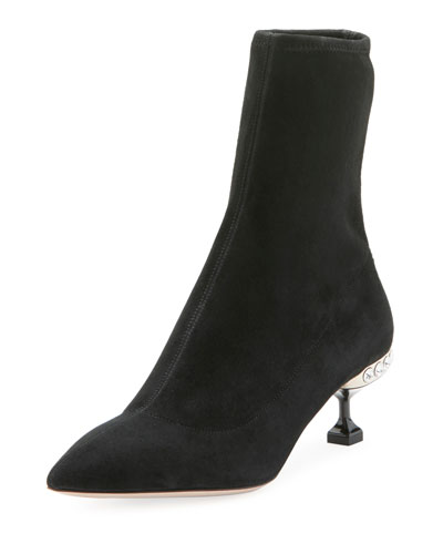 Stretch-Suede Jeweled 55mm Bootie, Black