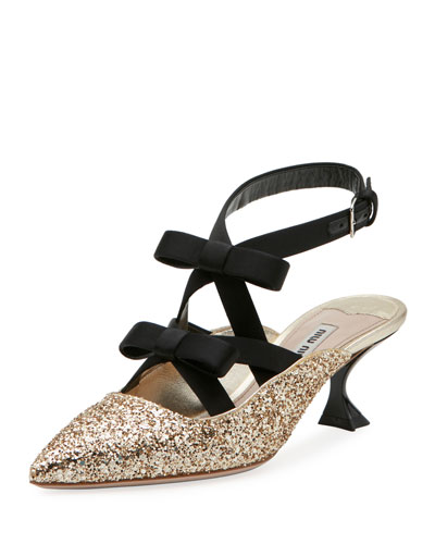 Glitter Bow Ankle-Wrap 55mm Mule