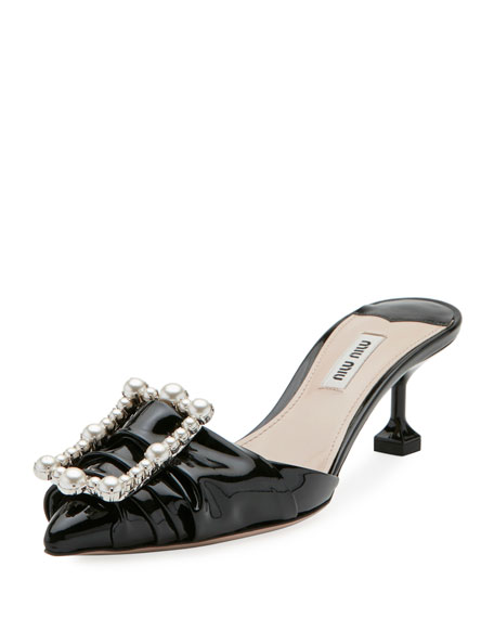 Pearly-Buckle Patent Leather 55mm Mule
