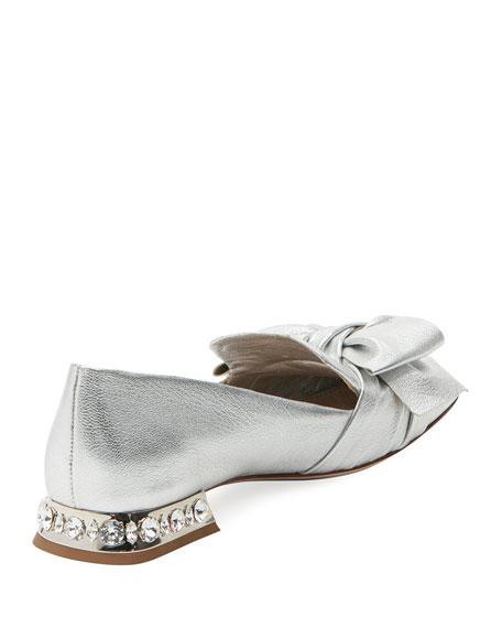 Metallic Leather Jeweled-Heel Loafer