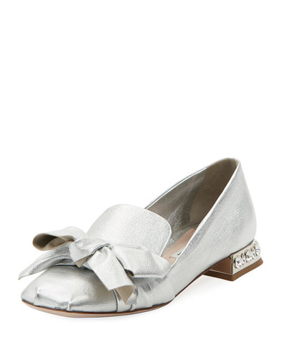 Metallic Leather Jeweled-Heel Loafer