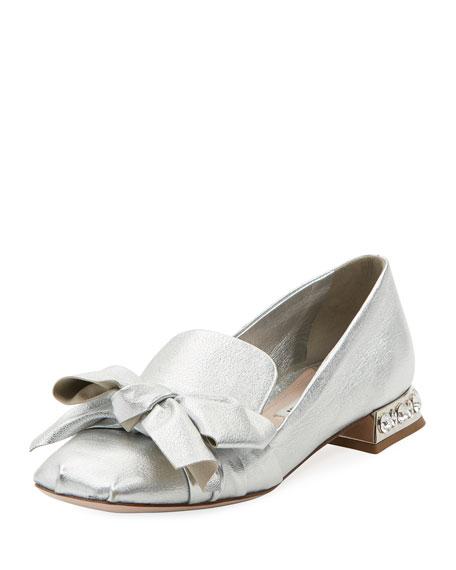 Miu Miu Metallic Leather Jeweled-Heel Loafer
