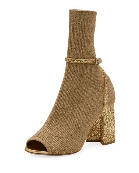 Miu Miu Metallic Stretch-Knit 85mm Open-Toe Bootie
