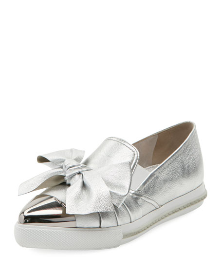 Miu Miu Metallic Leather Skate Sneaker, Silver