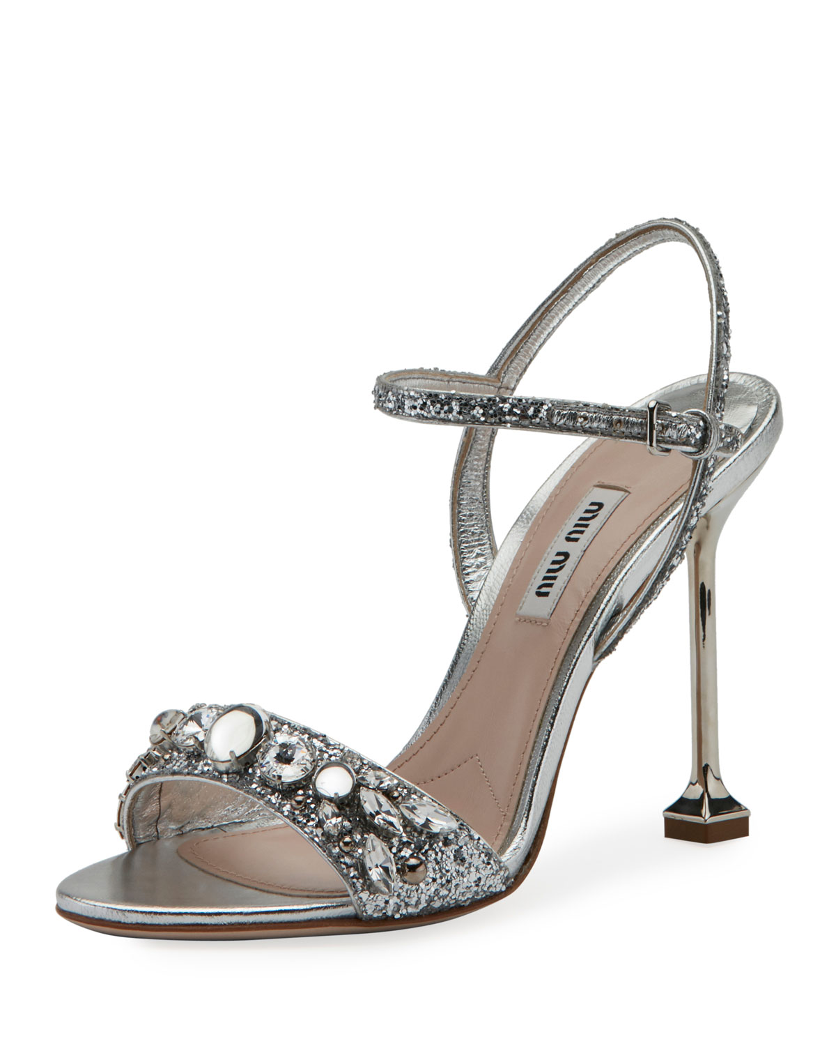 0bccee580c6b Miu Miu Jeweled Glitter 105mm Sandal