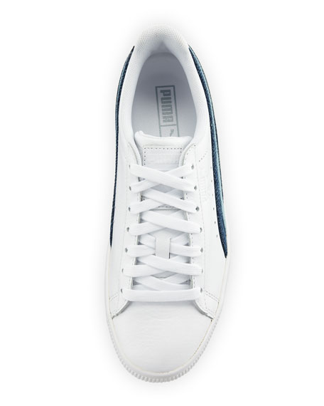 Clyde Denim-Striped Leather Sneakers
