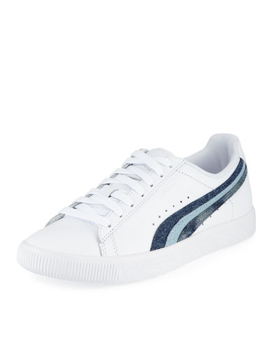 Clyde Denim-Striped Leather Sneaker
