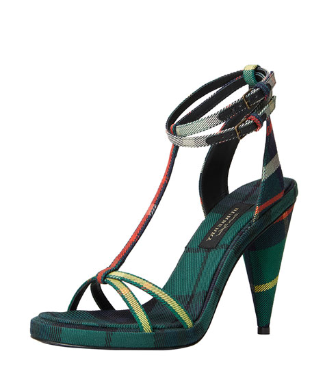 Burberry Check-Print Ankle-Wrap Sandal, Green