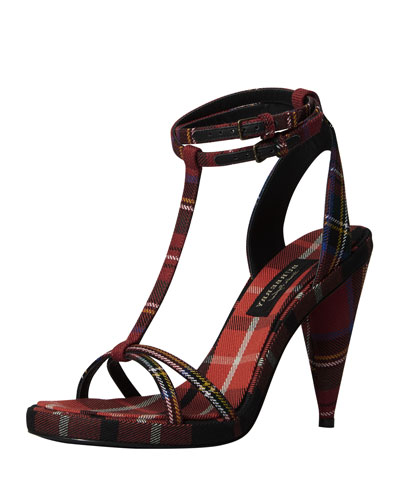 Check-Print Ankle-Wrap Sandal, Red