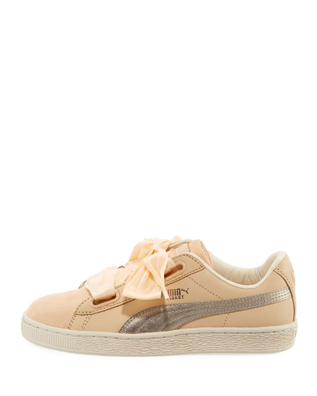 Basket Heart Up Mixed Sneakers, Beige
