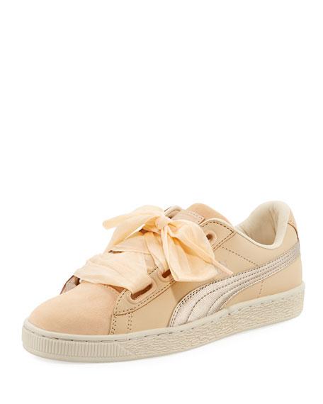 Puma Basket Heart Up Mixed Sneaker, Beige