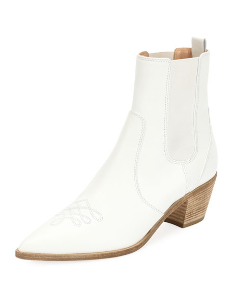 Embroidered Leather Western Ankle Boots, White