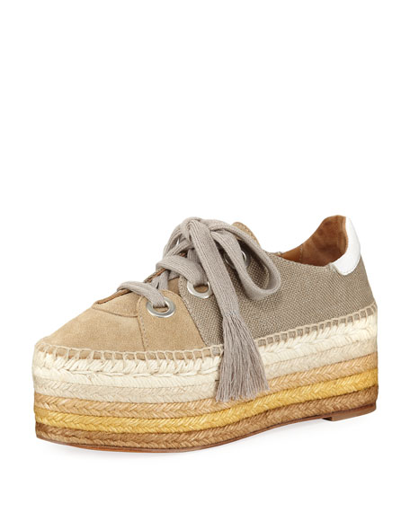 Espadrilles Sneakers suede fabric khaki Chlo X2KUOP