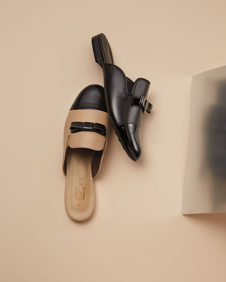 Kare Leather Bow Slide Mule, Black