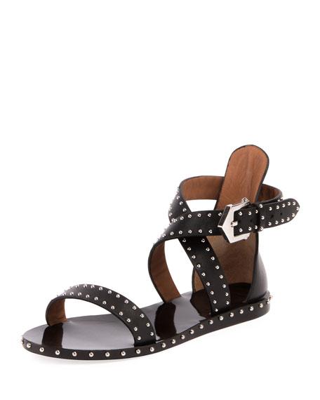 Elegant Studded Flat Sandal, Black