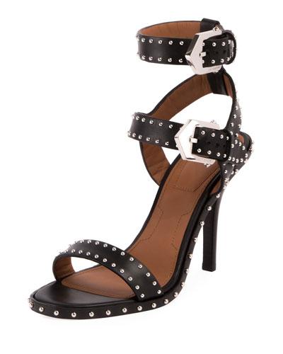 Elegant Studded High 100mm Sandal, Black