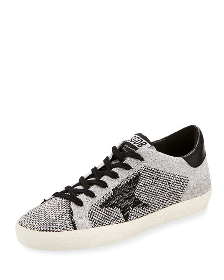 Golden Goose Superstar Knit Low-Top Sneaker, Silver