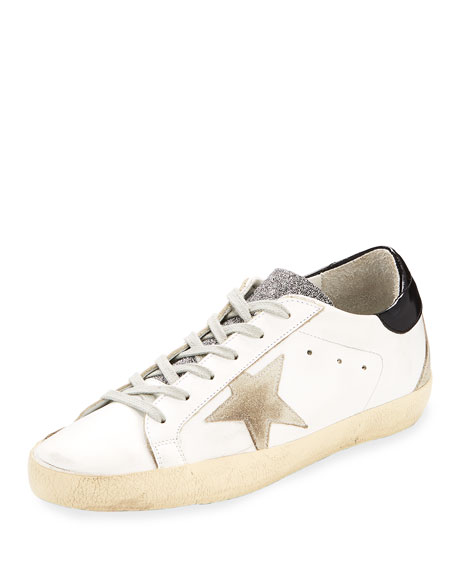 Golden Goose Superstar Glittered Leather Low-Top Sneaker