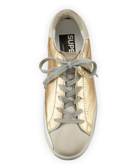Metallic Leather Lace-Up Platform Sneaker