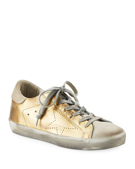 Golden Goose Metallic Leather Lace-Up Platform Sneaker