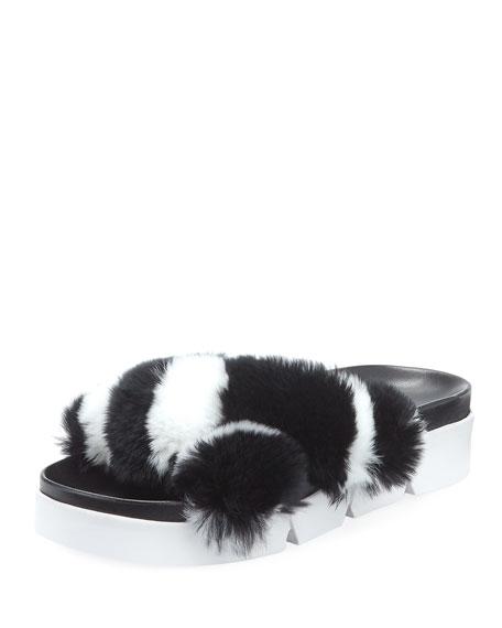 Sublime Rex Rabbit Fur Slide Sandal, Black/White
