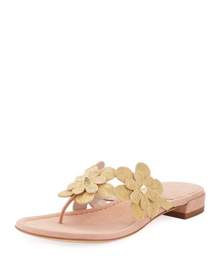 Stuart Weitzman Livewire Floral Suede Thong Sandal