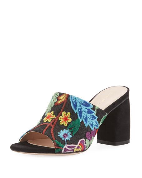 Stuart Weitzman Onevase Embroidered Slide Sandal