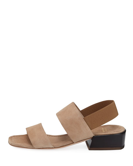 Bridges Low-Heel Suede Slingback Sandal