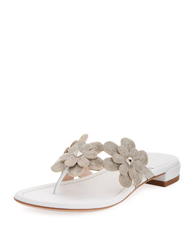 Livewire Floral Leather Thong Sandal