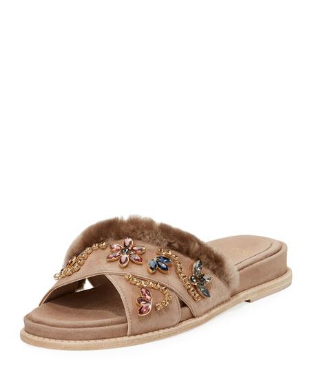 Stuart Weitzman Nomedeplume Embellished Sandal, Haze