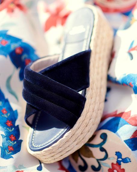 Pufftopraffia Velvet Wedge Platform Sandal