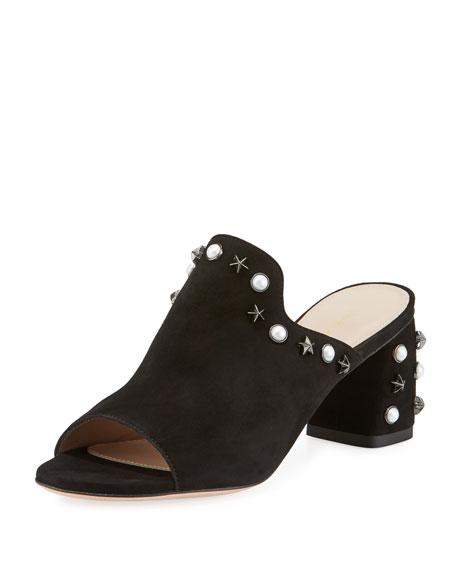 Stuart Weitzman Dohickey Embellished Suede Mule Sandal