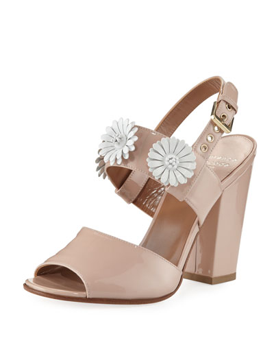100mm Patent Leather Sandal w/ Daisy Detail