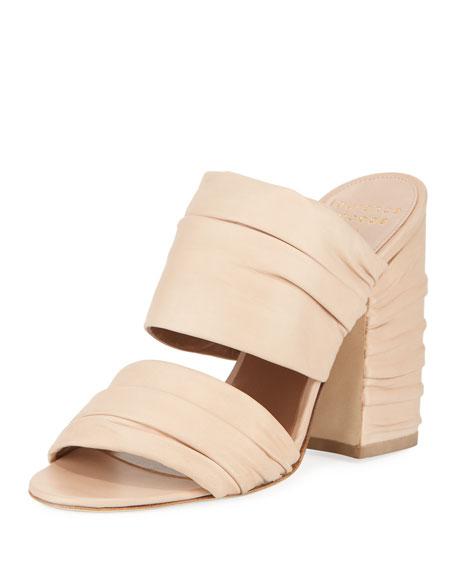Rona Ruched Leather Slide Sandal