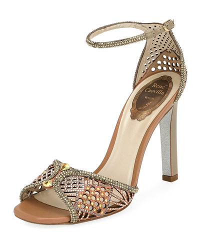 Crystal-Embellished Ankle Strap Sandal