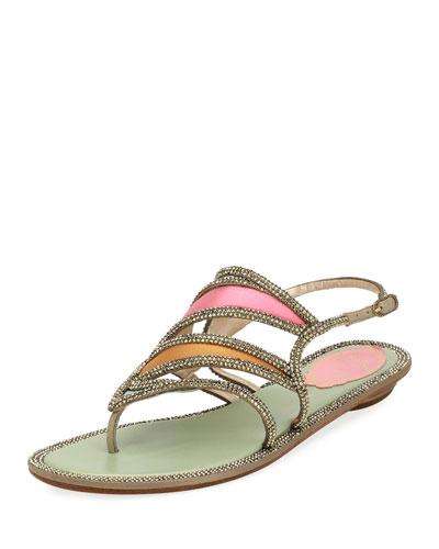 Satin Embellished Flat Sandal