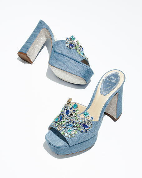 Denim Embellished Platform Slide Sandal