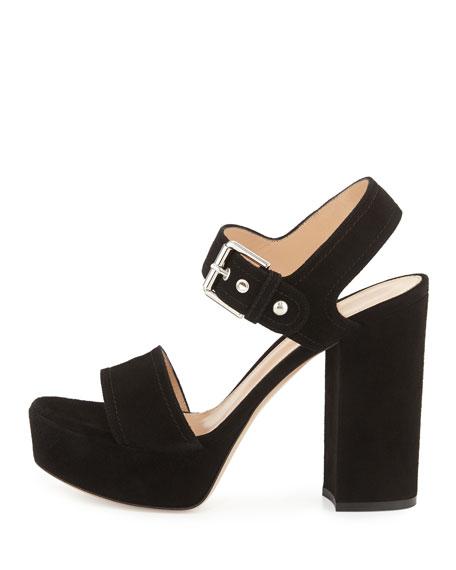 Suede Two-Band Platform Sandal