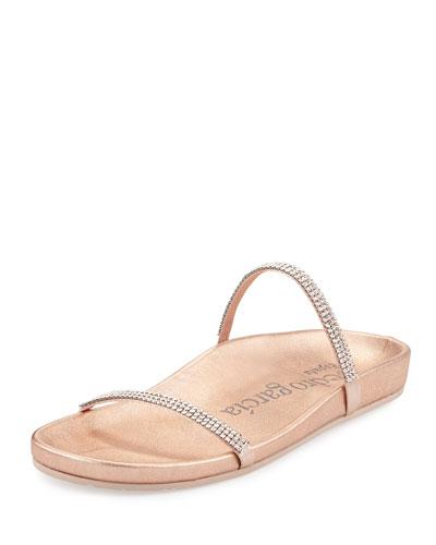 Amanda Crystal Flat Slide Sandal