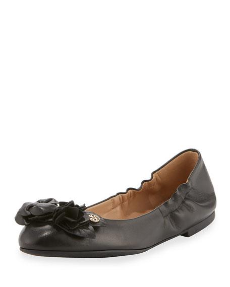 Tory Burch Blossom Leather Ballerina Flat