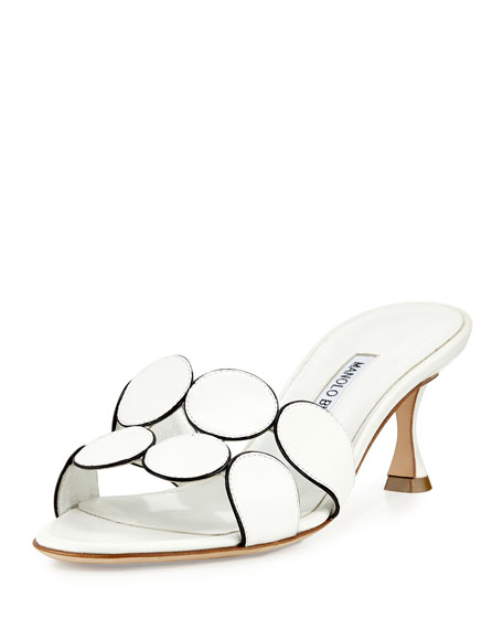 Manolo Blahnik Hairibamu Leather 65mm Mule Sandal