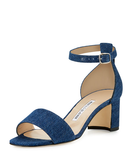 Manolo Blahnik Lauratomod Denim Ankle-Wrap Sandal